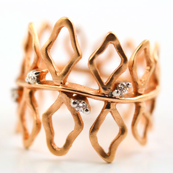18K ROSE GOLD, WHITE GOLD AND DIAMOND RING