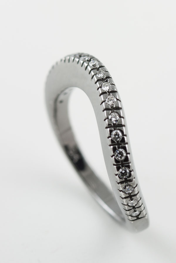 9K WHITE GOLD WITH BLACK RHODIUM PLATING, AND DIAMOND RING